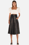 Misha A-Line Black Leather Midi Skirt. Jupe midi en cuir noir