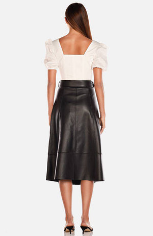 A-Line Black Leather Midi Skirt. Jupe midi en cuir noir