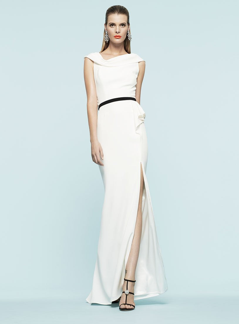 FRASCARA Draped Gown with Belt Robe longue