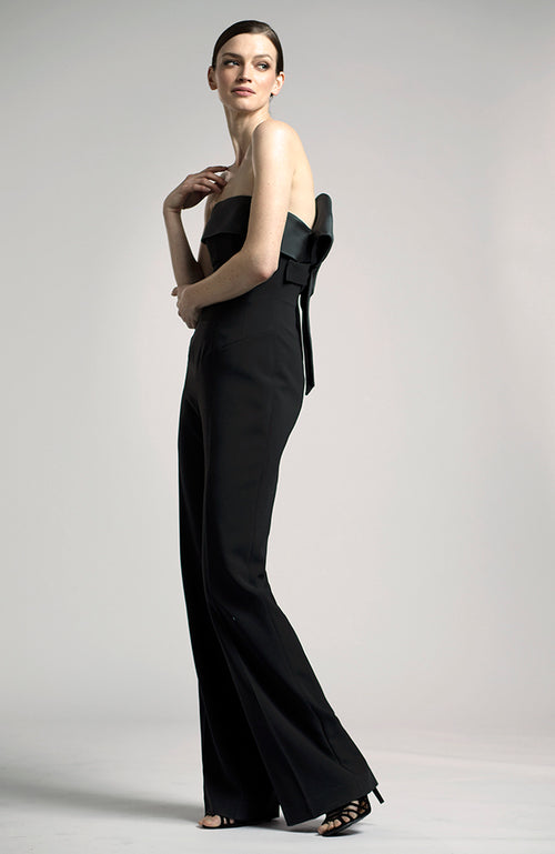 LUCIAN MATIS Strapless Jumpsuit with Detachable Back Bow