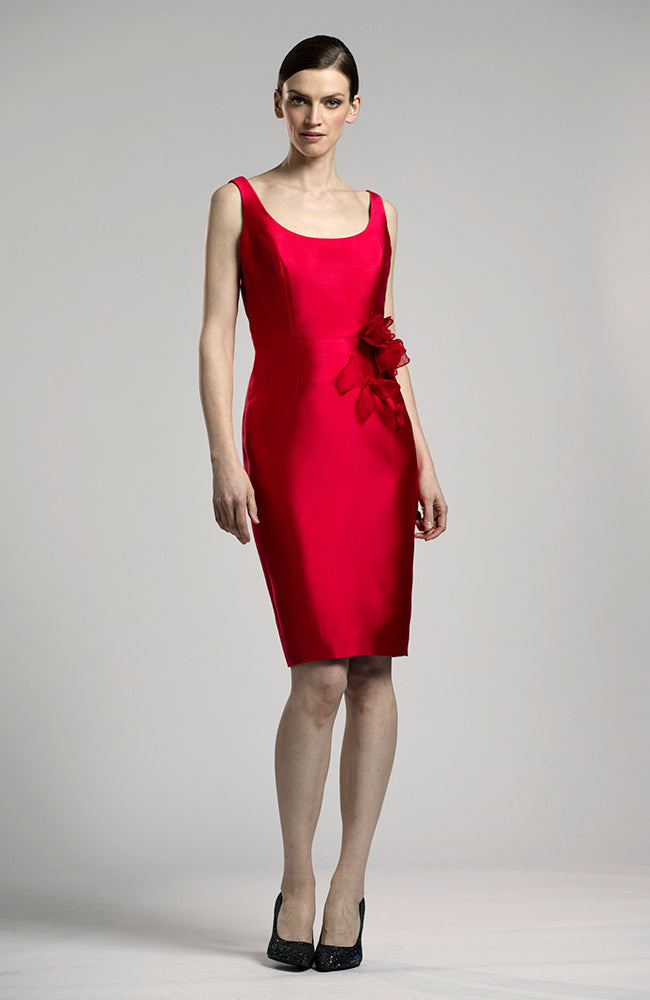 LUCIAN MATIS Silk Wool Dress with Flower Appliques Robe
