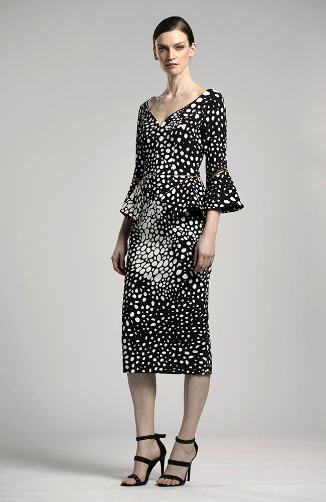 LUCIAN MATIS Polkadot Cocktail Dress with Detachable peplum Robe de cocktail à pois