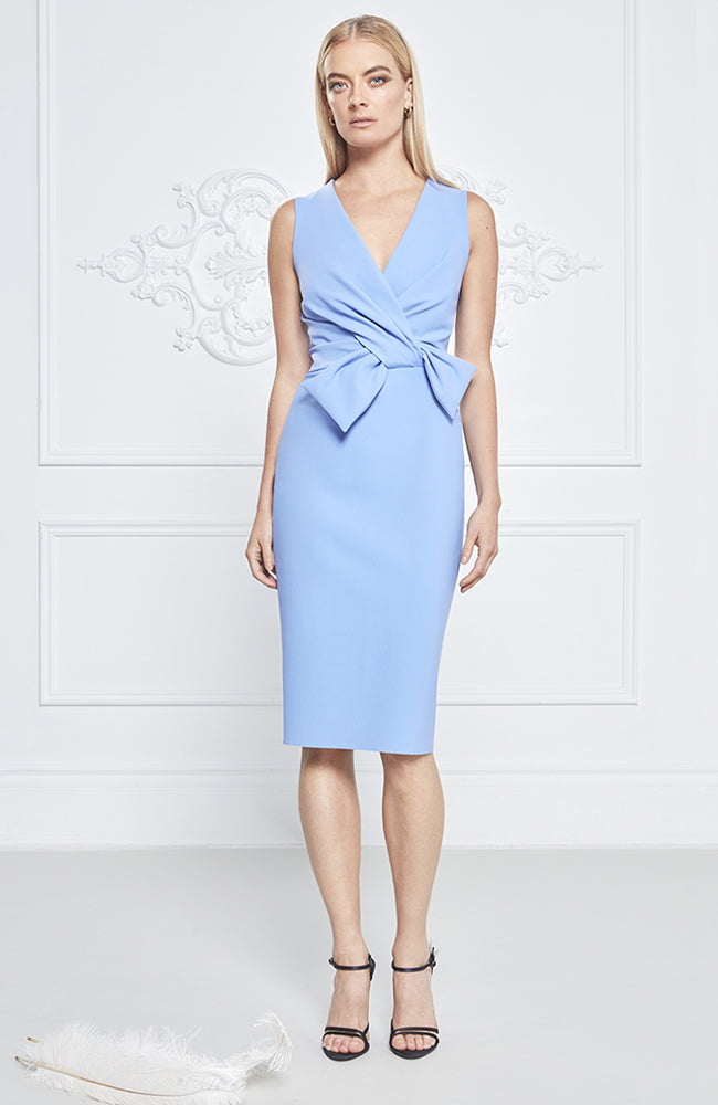 Frascara Scuba Dress with Bow Detail at Waist
