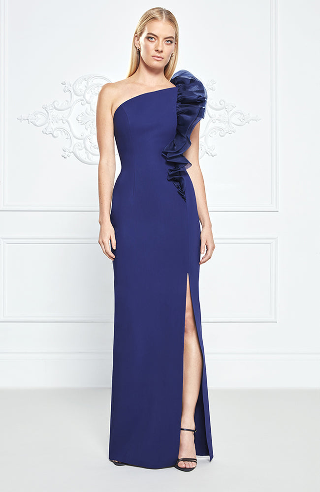 Frascara One shoulder Gown with Shoulder Detail and Side Slit