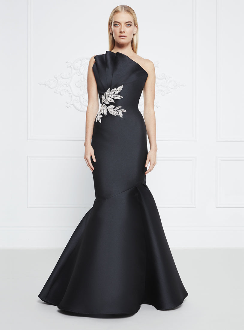 Frascara Mermaid Pique Gown with Stone Detail
