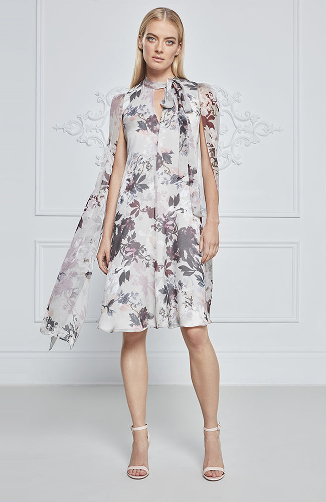 Frascara Floral Dress with Cape