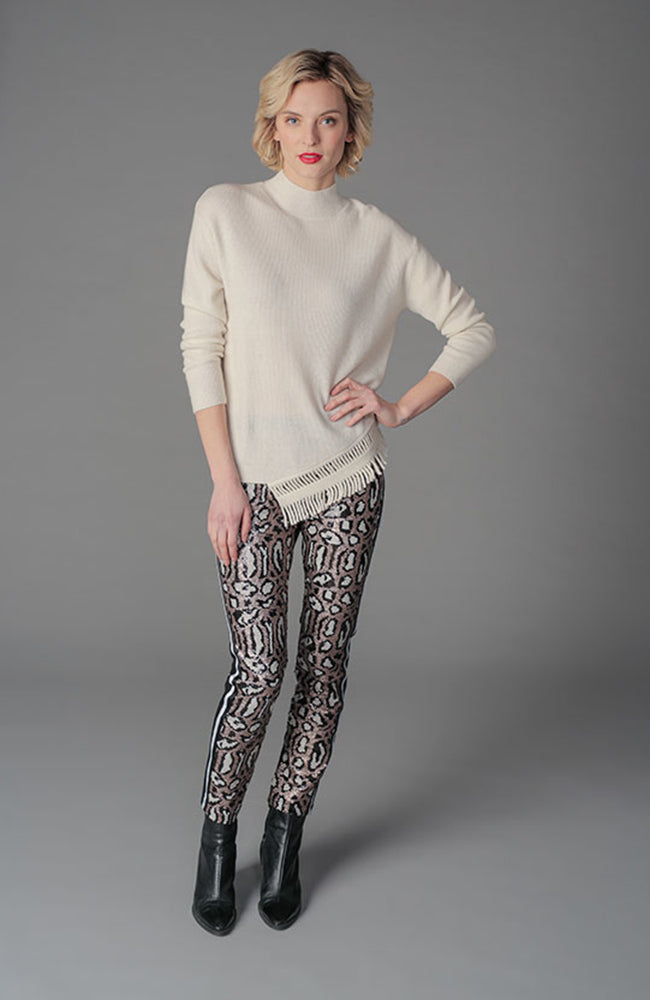 Leopard Sequin Stretch Pants. Pantalon léopard à paillettes