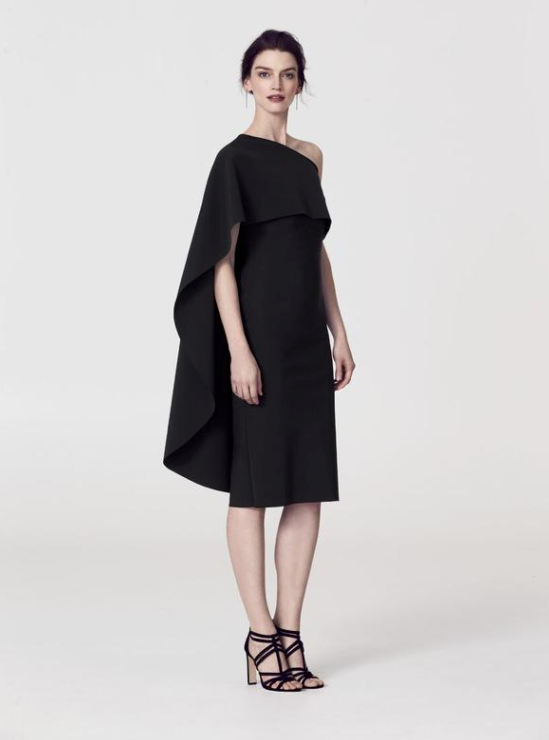 GRETA CONSTANTINE One Shoulder Cape Dress Robe de cape