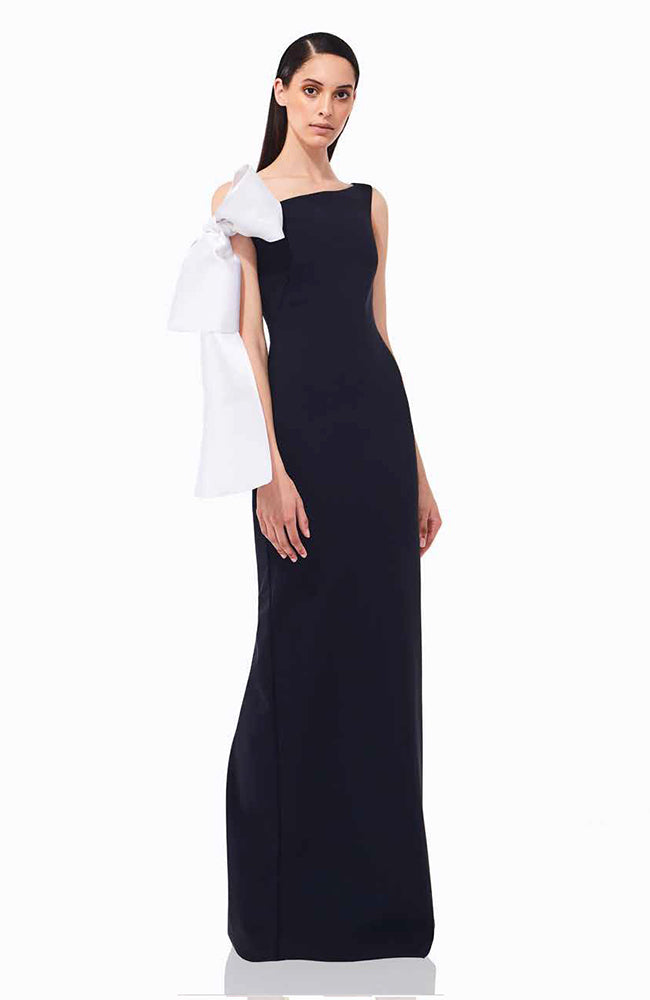 Greta Constantine Calandra Black Gown with White Detail