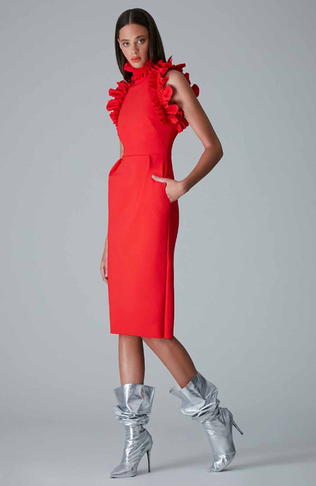 Greta Constantine Hebe Ruffle Red Dress