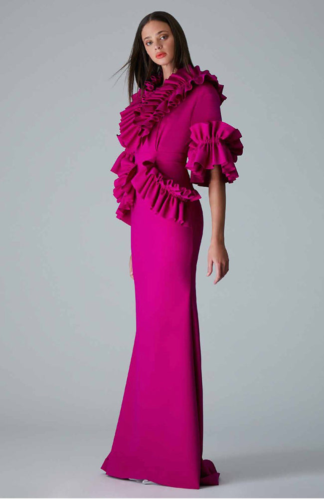 Greta Constantine Onora V-Neck Ruffle Gown