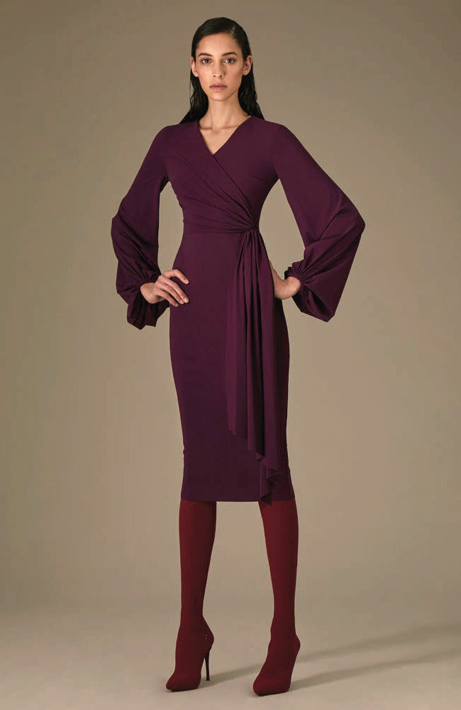 GRETA CONSTANTINE Cocktail Dress v-neck crossover top long sleeve Robe de soirée