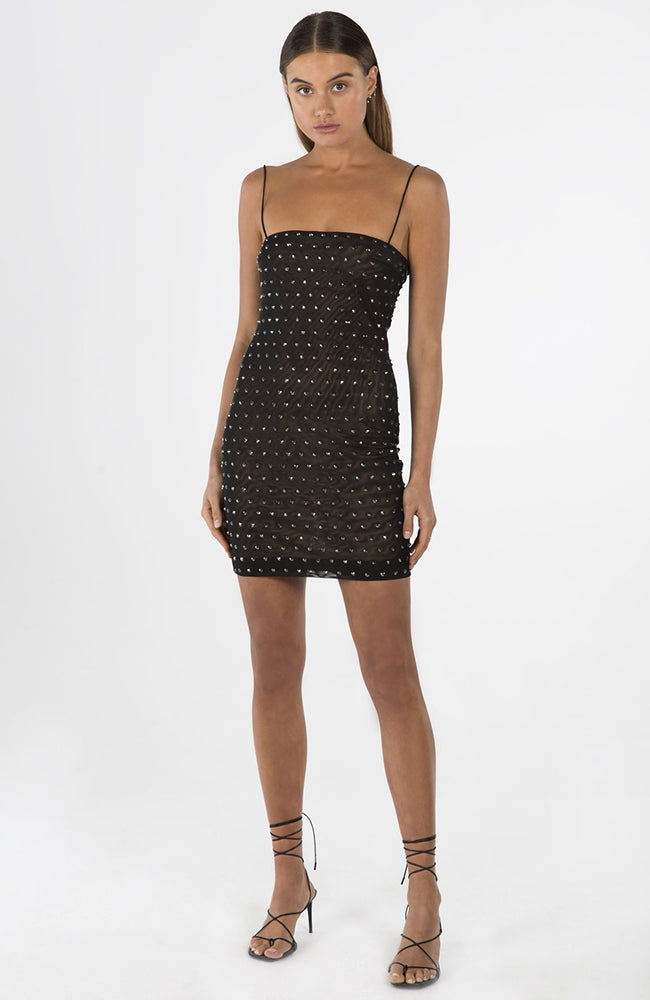 Mini Shift Dress with Beaded Stud Details