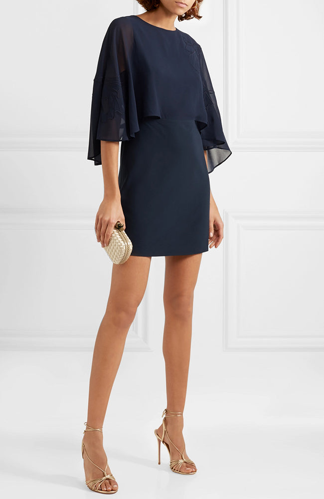 HALSTON Heritage Embroidered Cape-Effect Crepe Navy Dress Robe blue marine