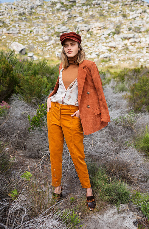 Raffaello Rossi Straight Leg Burnt Orange Corduroy Pants