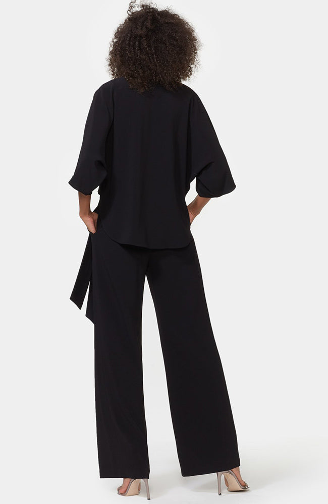 HALSTON Wrap Front Black Jumpsuit with Ties