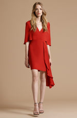 HALSTON Flowy Sleeve Faux Wrap Red Dress