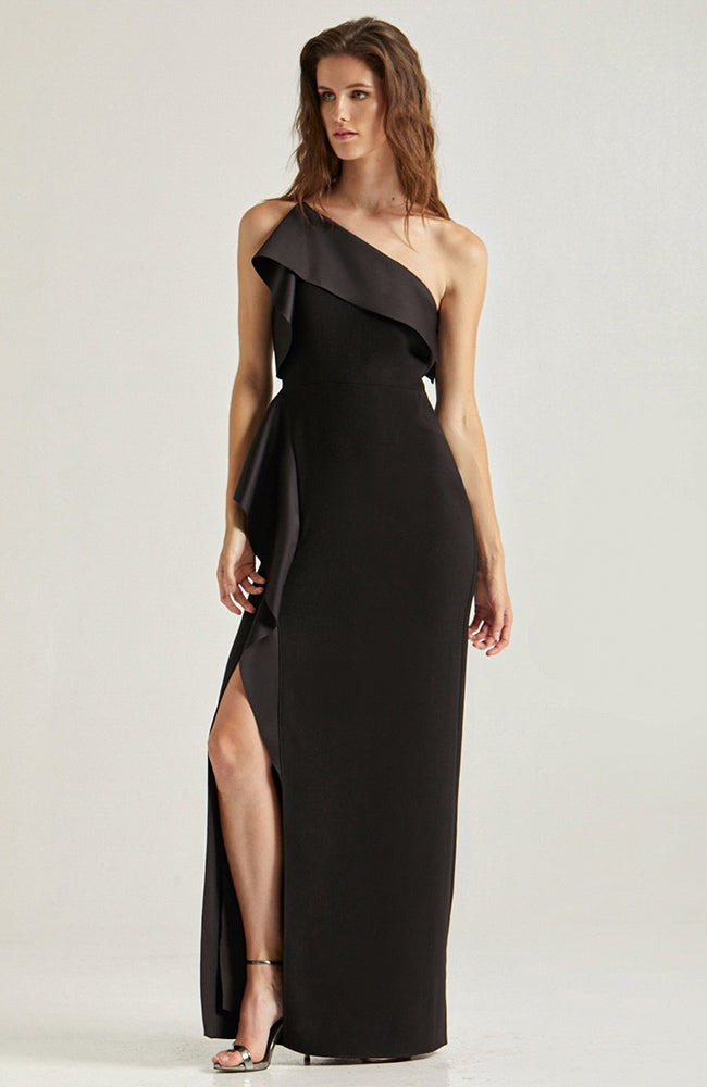 HALSTON Satin Draped Black Gown