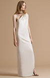 HALSTON Embellished Neck Asymmetric Crepe Gown