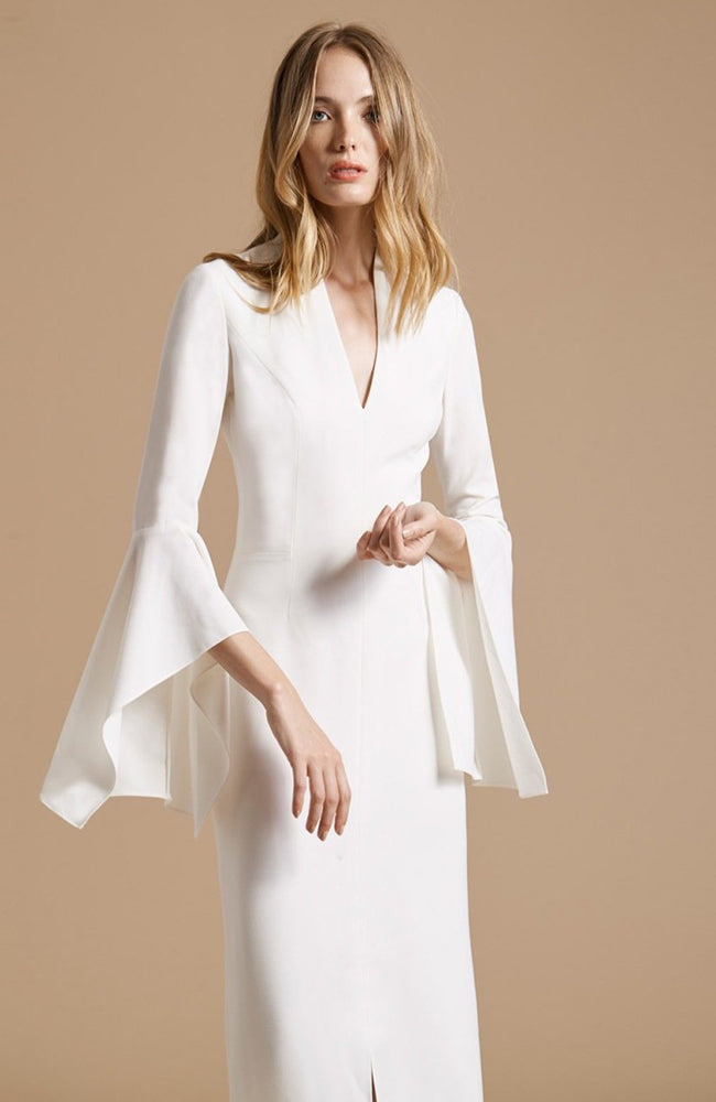 HALSTON Flounce Sleeve Crepe Gown White