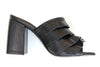 TSAKIRIS MALLAS Leather Sandal with Ruffles Black. Sandale en cuir noire à volants