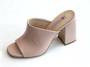 Sandale en cuir TSAKIRIS MALLAS Leather Nude Sandal Wide Heel.