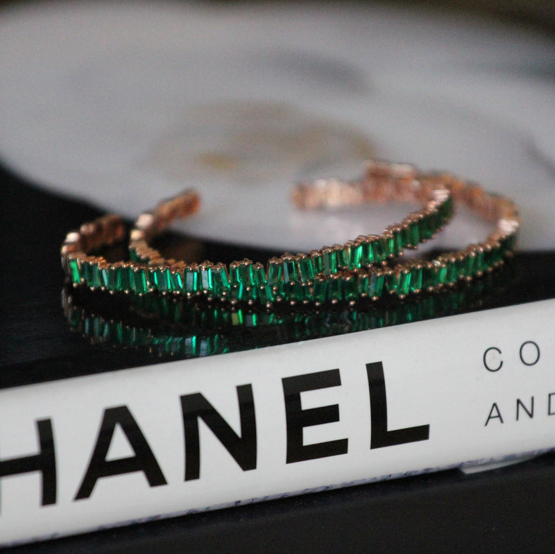 Designer Emerald & Rose Gold Bracelet Bangle Bracelet