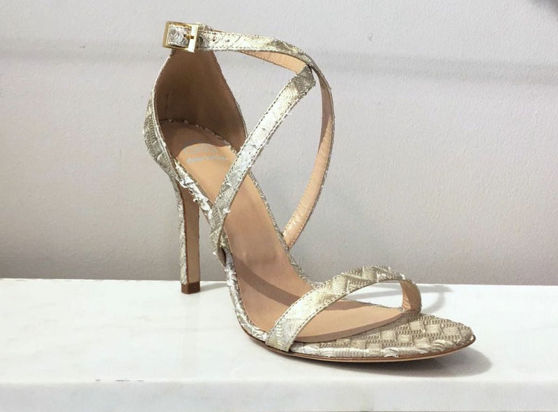 DEE KELLER Madelyn Platinum Criss-Cross Sandals
