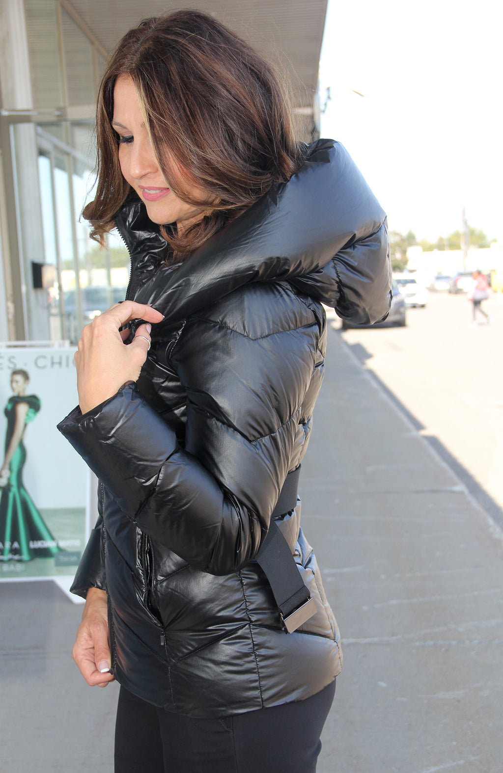Molly Long Sleeve Puffy Hoodie Jacket with Belted