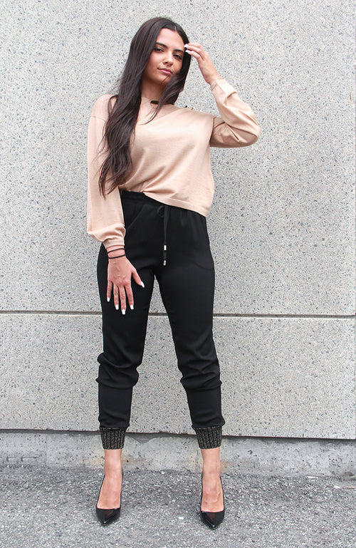 Track Style Woven Pants with Gold Trim Cuff Pantalon