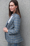 Veste à carreaux. Single Breasted Asymmetric Plaid Blazer.