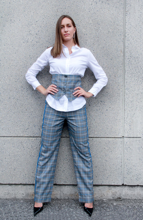Wide Leg Plaid Pants. Pantalon large à carreaux