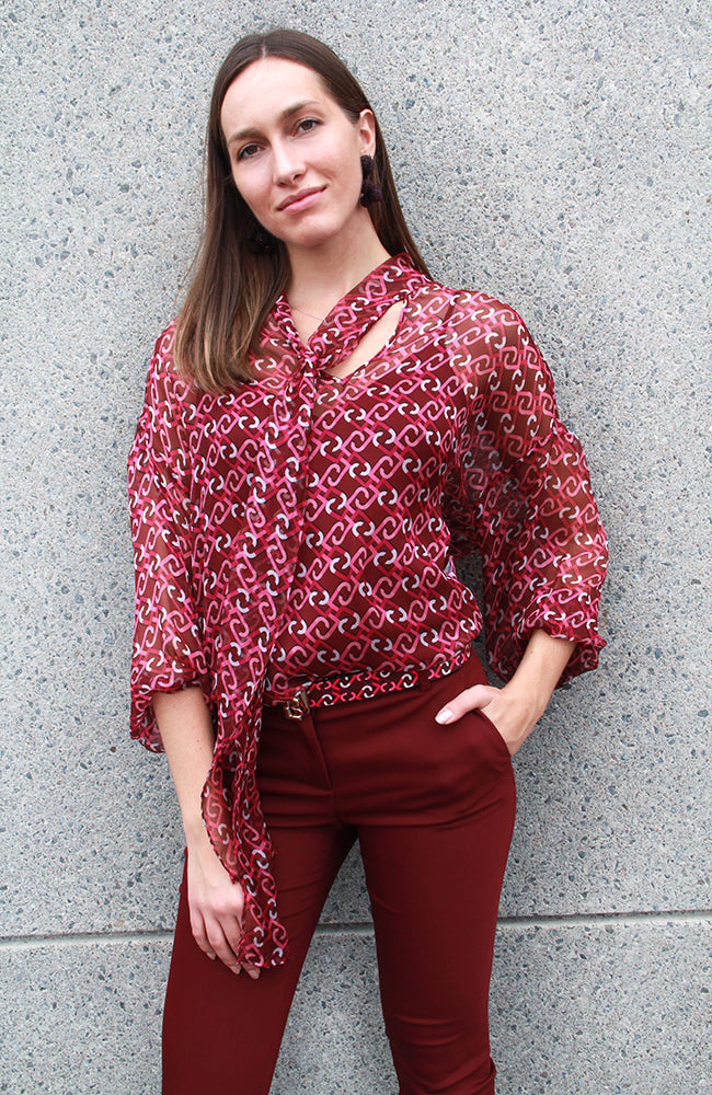Liu Jo Italian Made Flowy Multi Print Blouse with Ties. Haut