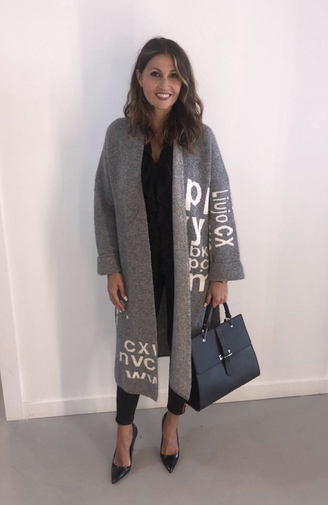 Wool Sweater Coat with Lettering Veste