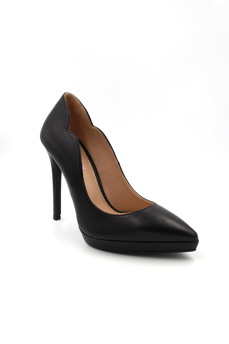 Simona Leather Platform Pump. Talon Haut en Cuir