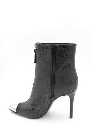 Jennifer Textured Faux-Leather Heeled Boot with Metal Tip Boutillon