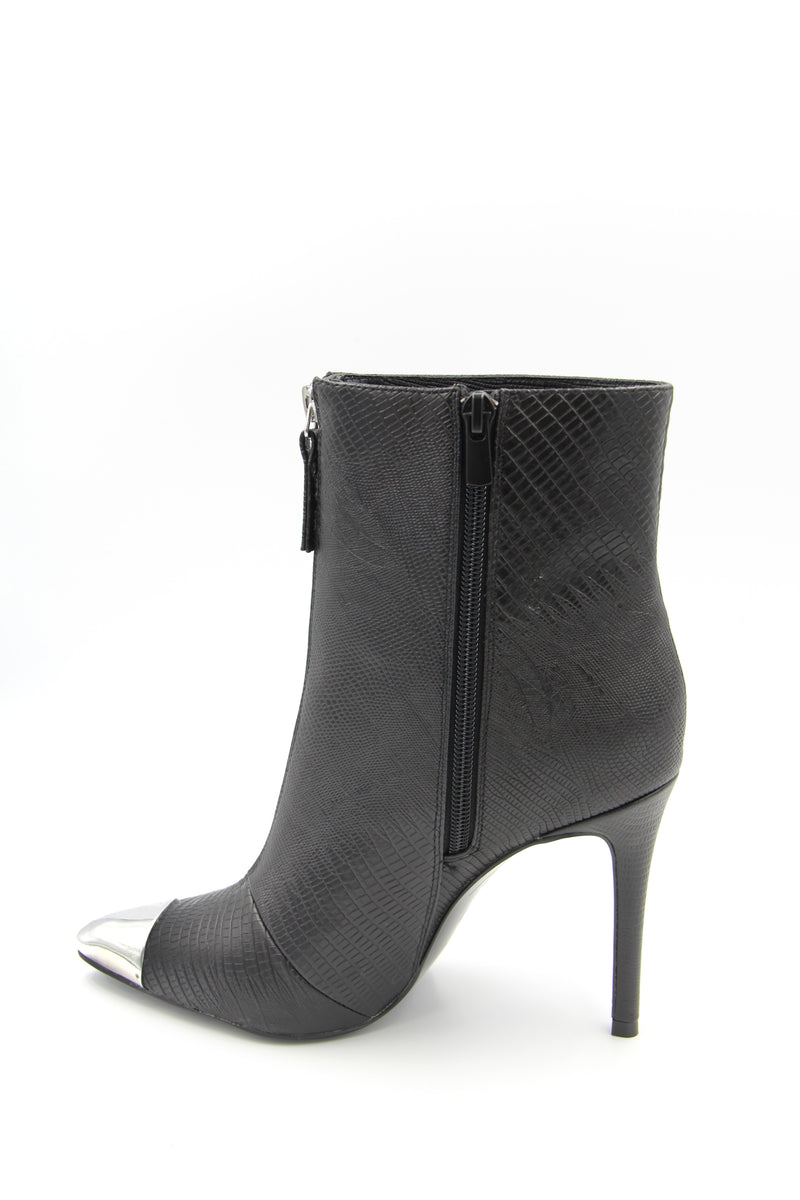 Tsakiris Mallas Jennifer Textured Faux-Leather Heeled Boot with Metal Tip Boutillon