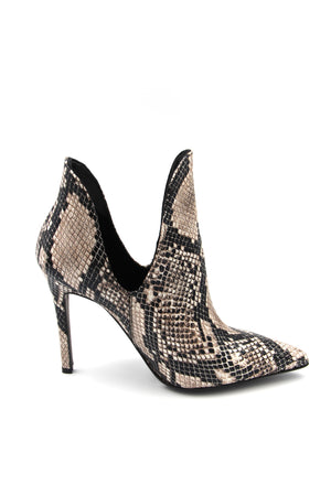 Faux-Leather Heeled Boot snake print Boutillons