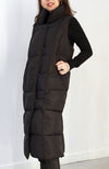 Black Sleeveless Long Vest. Veste longue sans manches noir