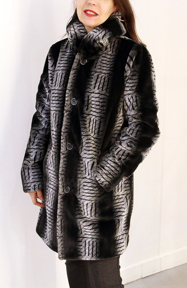 Reversible Coat with Faux-Fur Manteau noir et gris