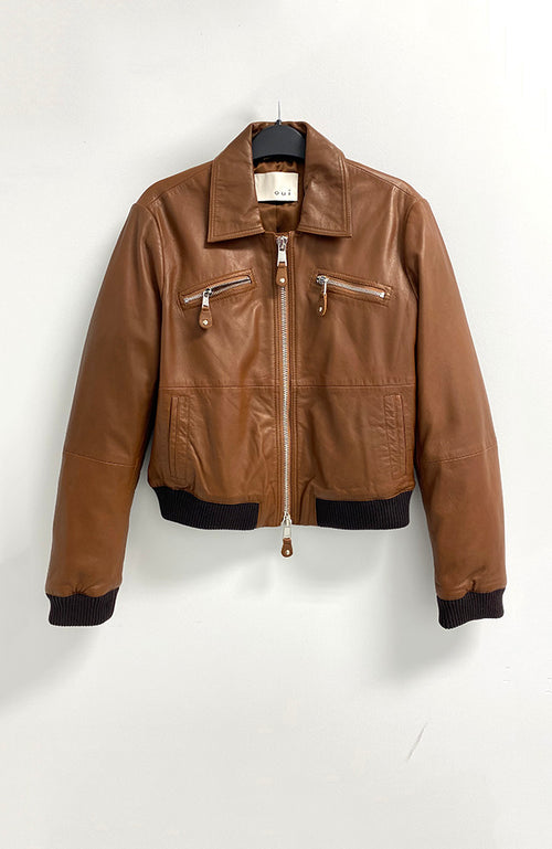 Oui Black Label Tan Leather Jacket en Cuir