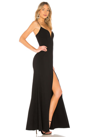 JILL JILL STUART Sweetheart Neck High-Slit Gown in Black