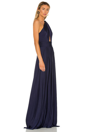 Robe de soirée bleu marine JILL JILL STUART One Shoulder Pleated Knit Gown