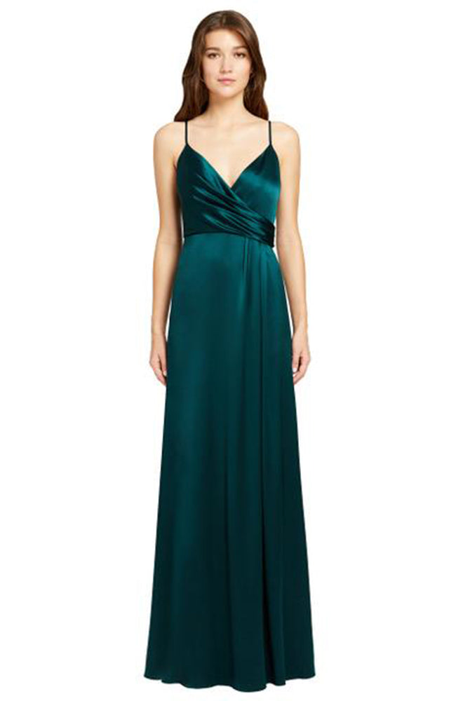 JILL JILL STUART Thandie Satin V-Neck Side Slit Green Gown. Robe de soirée