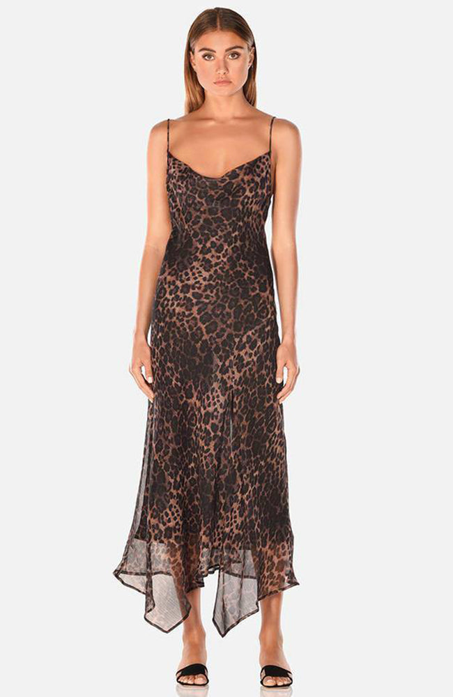 Sheer Leopard Print Midi Dress with Slit. Robe midi imprimée