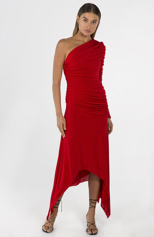 One Shoulder Long Sleeve Dress Red