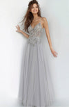 JVN Beaded Top Gown with Chiffon Skirt Robe de Bal