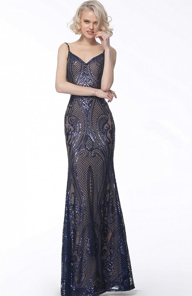 JOVANI Robe à paillettes Sequin Embellished Gown with Satin Belt
