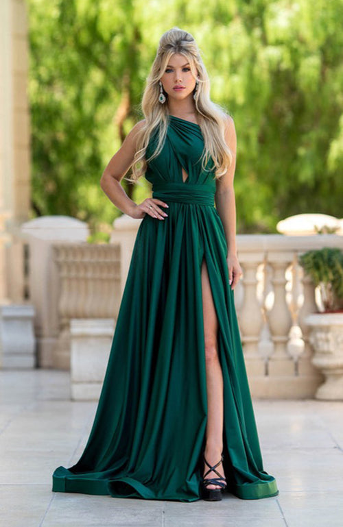 Jessica Angel Halter Gown with Slit and Back Ties