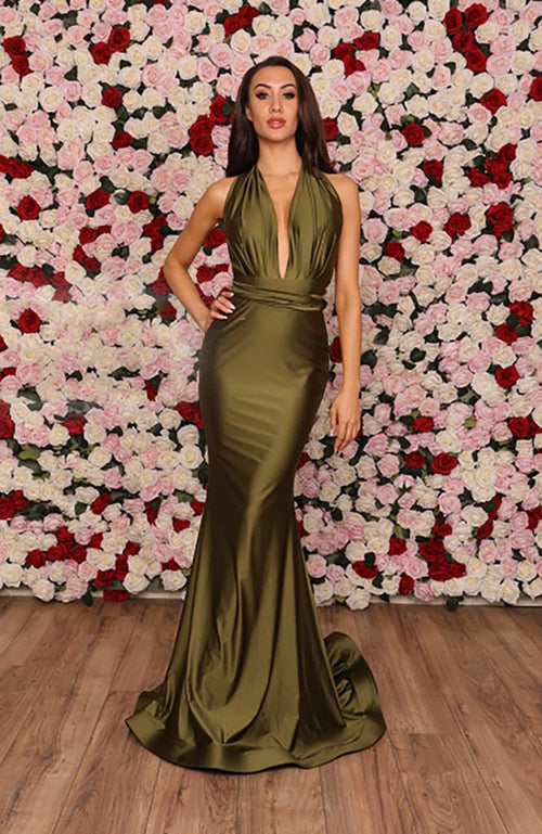 Robe de soiree Bal Jessica Angel Deep V-Neck Gown with Twisting Tie Wrap Olive. Robe verte